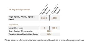 Tarifs stage équestre et linguistique en irlande
