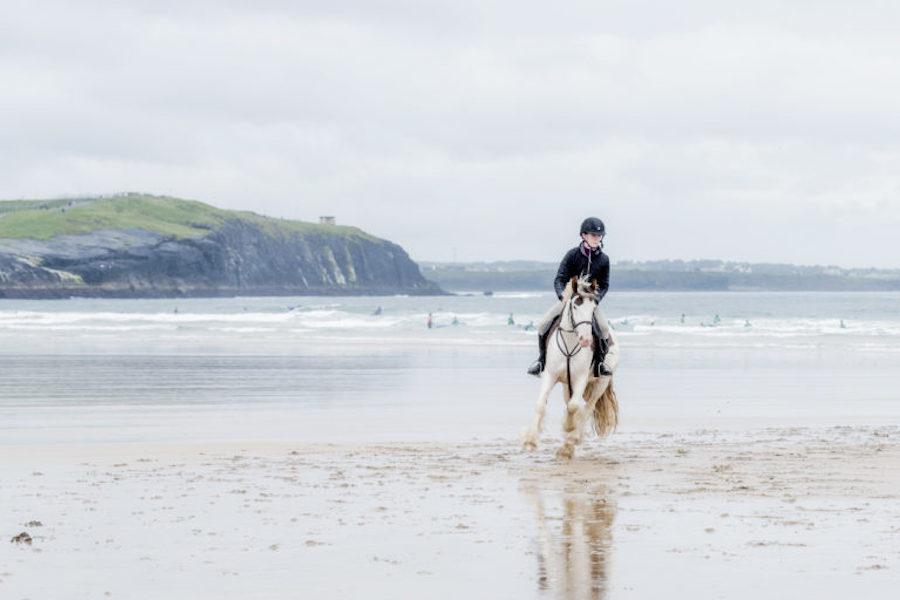 Irish Cob plage Donegal équitation